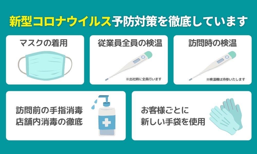 新型コロナウイルス対策を徹底しています